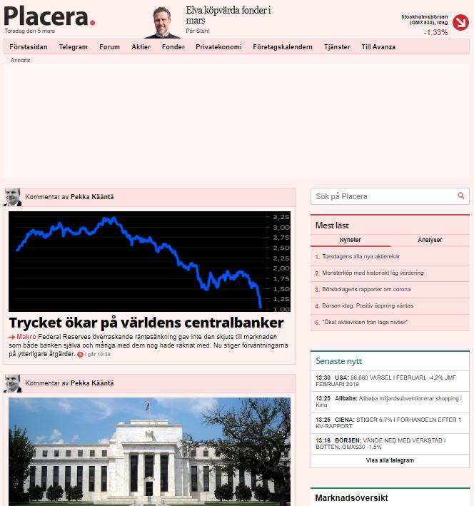 Pekkas makrokommentarer på Placera