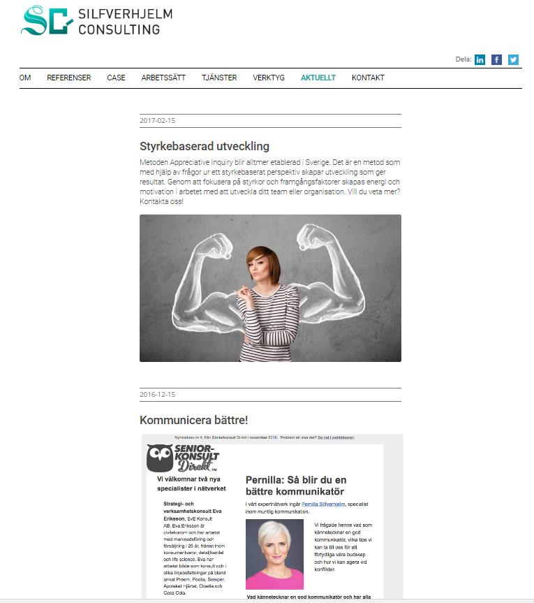 Seniorkonsult Direkts Nyhetsbrev nr 5 med direktlänk på Pernillas hemsida