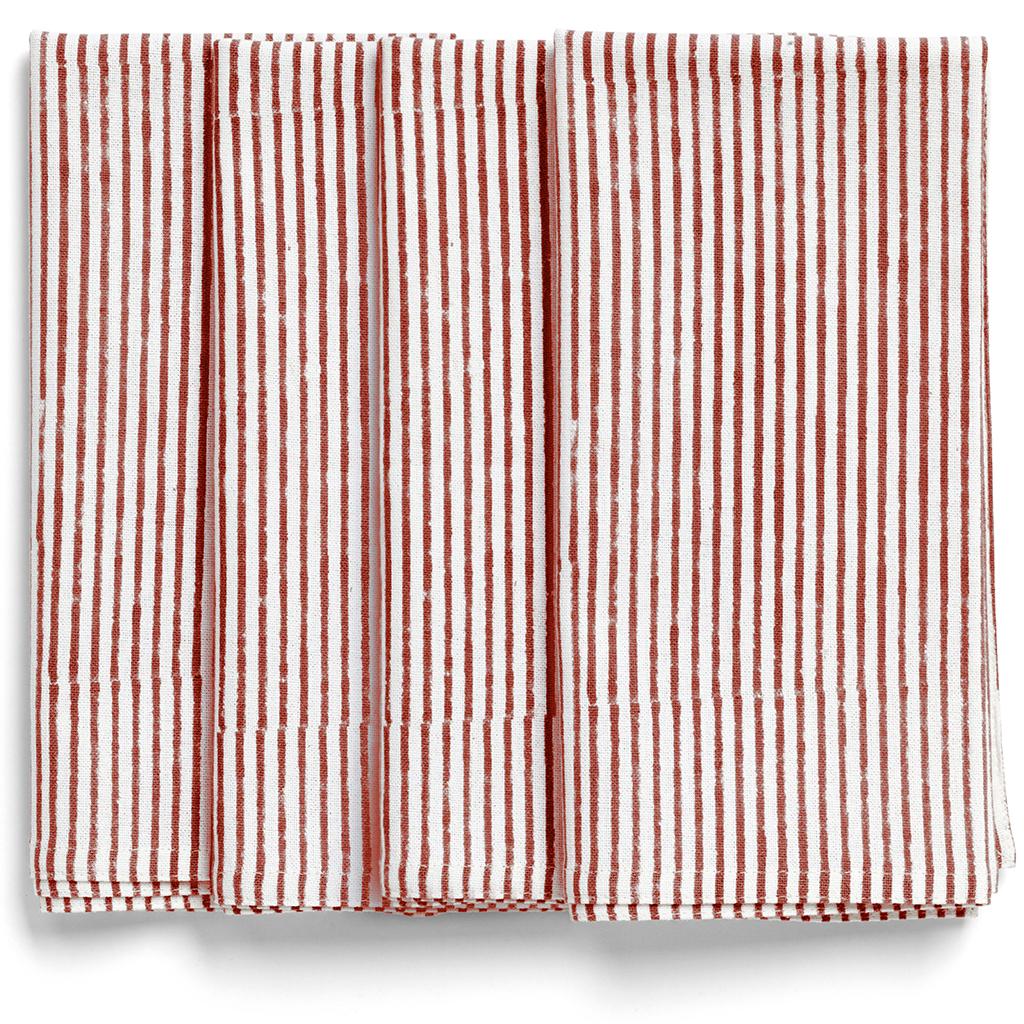 Rödrandiga servetter