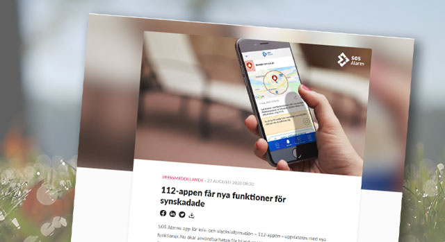 Skärmbild på nyheten om 112-appen
