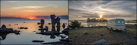 Solnedgång och soluppgång på Fårö
