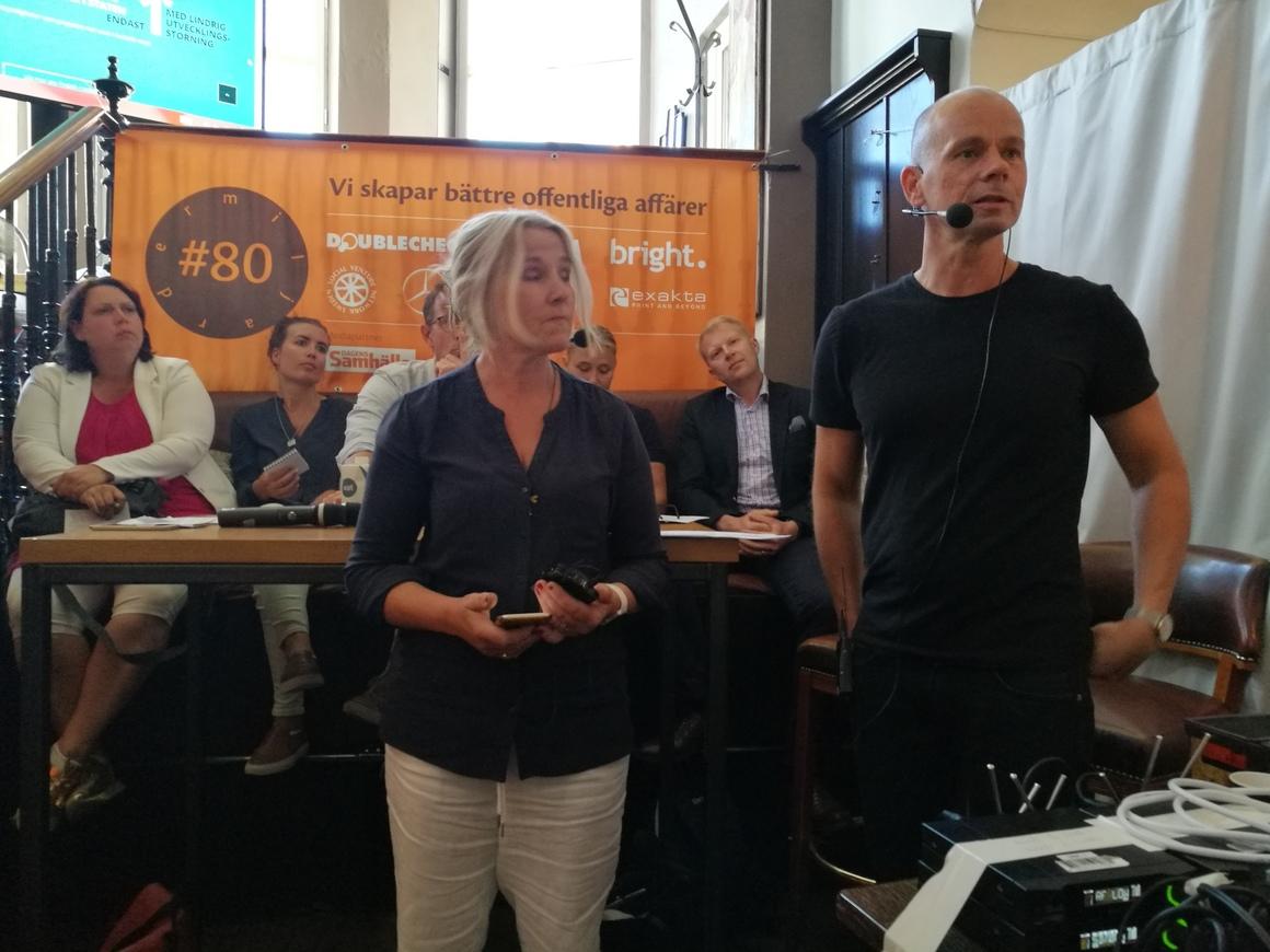Inga Birath von Sydow, Projektledare PFL, och Peter Gröndahl, som jobbar med en rapport till Skolverket, pratade i Almedalen.