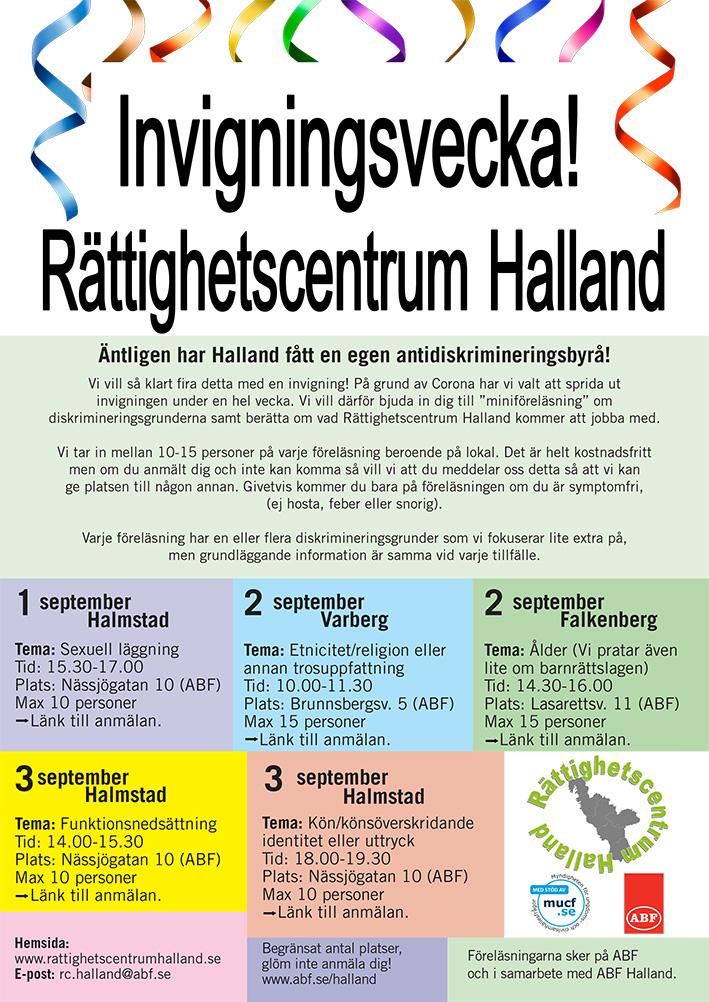 Invigningsvecka med information om fem styck föreläsningar. maila för info rc.halland@abf.se