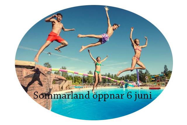Fyra barn i badkläder hoppar ut över en pool