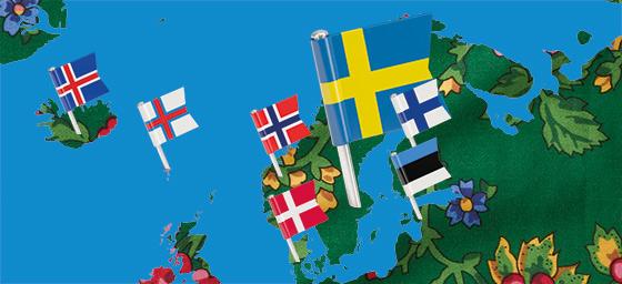 Karta över Norden med flaggor