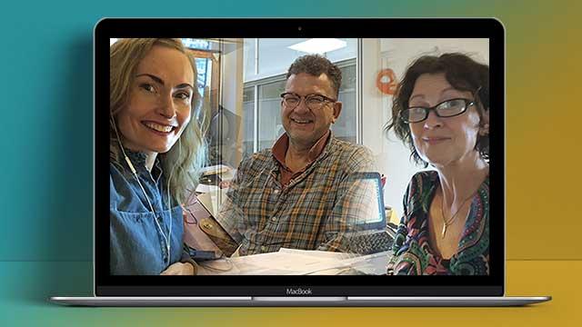 Foto på tre teammedlemmar i AllAgeHub