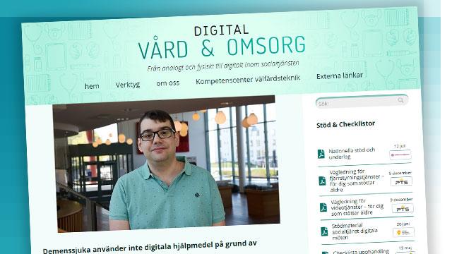 Skärbild från Digital vård & omsorgs hemsida