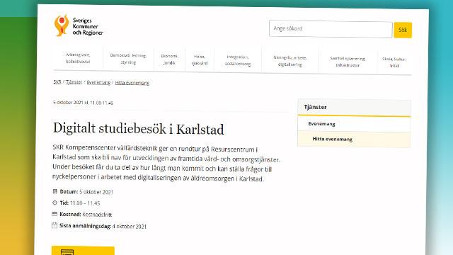Skärmbild från SKR:s hemsida om evenemanget