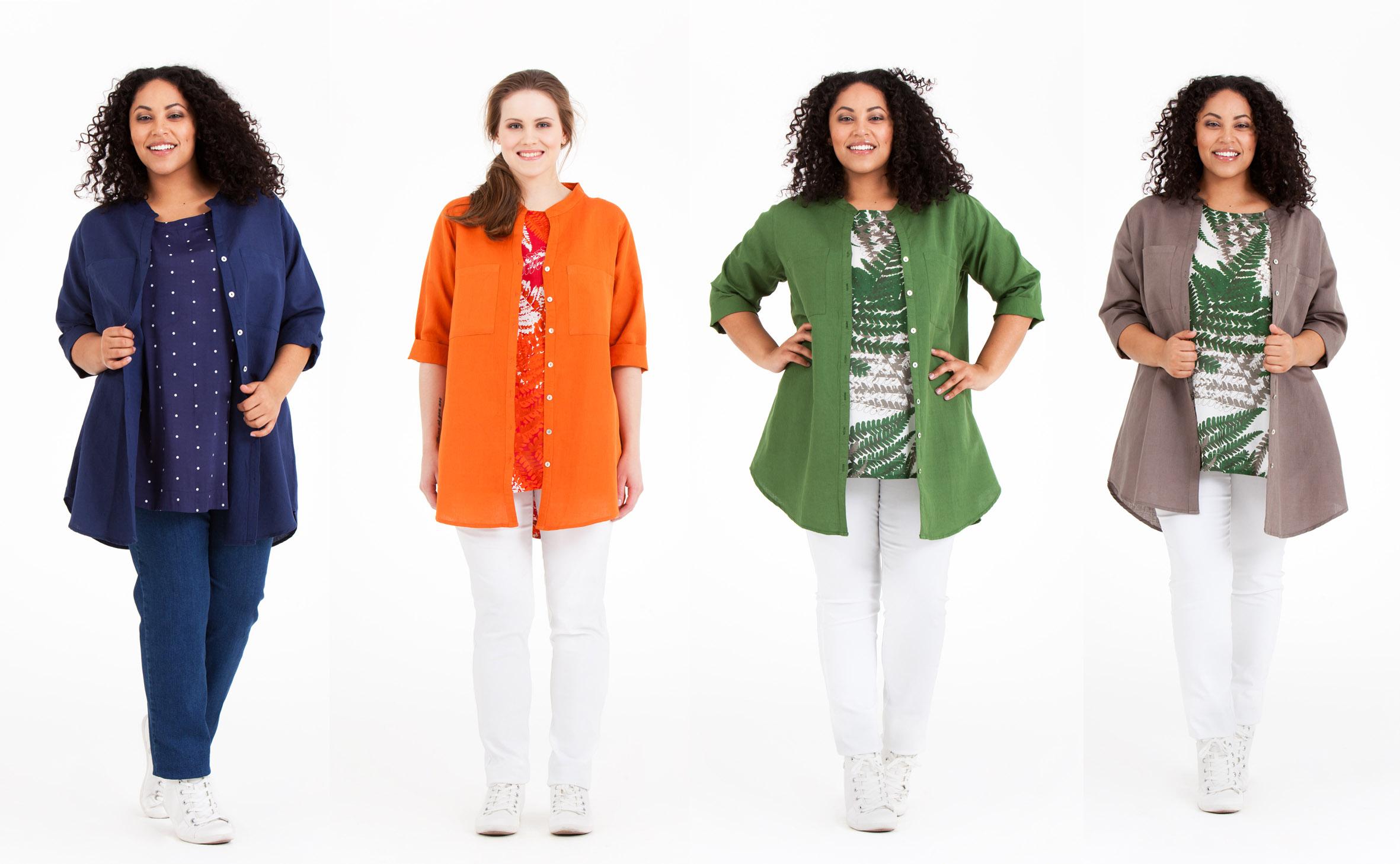 Alva skjorta i 55% bomull och 45% linne passar bra och blir lagom sval till en Olina topp. Finns i orange, grön, mullvad och blå. Pris 699:-