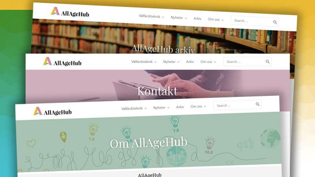 Skärmdump på några sidhuvuden från AllAgeHubs hemsida