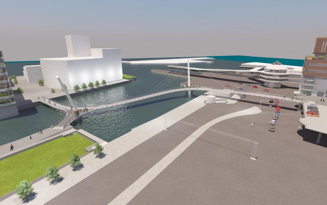Visionsbild på Brf Oceanpiren, med vatten och en brygga i förgrunden.