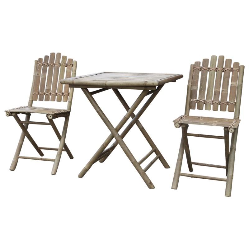 Bord och två stolar i bambu
