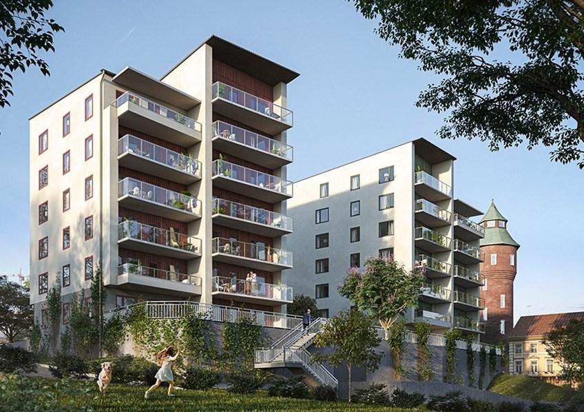Bilden är hämtad från hsb.se. Den visar en illustration över den nya fastigheten på Södra Kungsvägen och kan avvika från verkligheten.