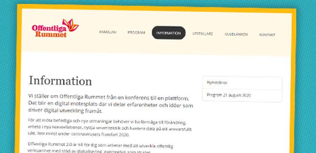Skärmbild från Offentliga rummets hemsida