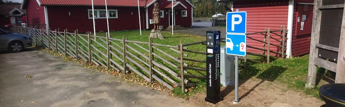 Bild från laddstolpen vid Åkulla friluftsgård