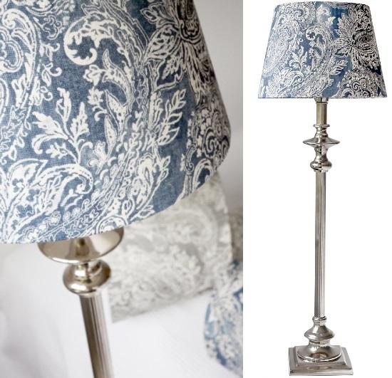 Paisleymönstrade lampskärmar i blått eller grått
