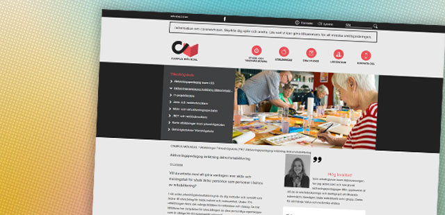 Skärmbild Campus Mölndals hemsida