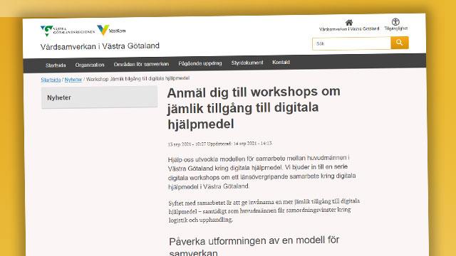Skärmbild från VGR:s informationssida om dessa workshops