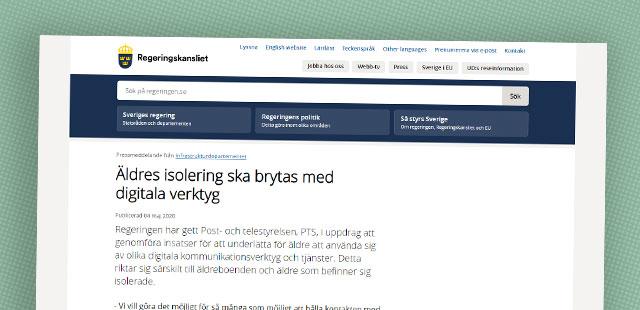 Skärmbild från Regeringskansliets hemsida