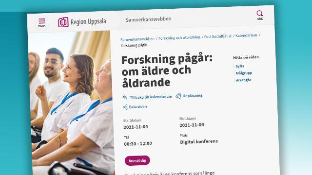 Skärmbild från Region Uppsalas hemsida