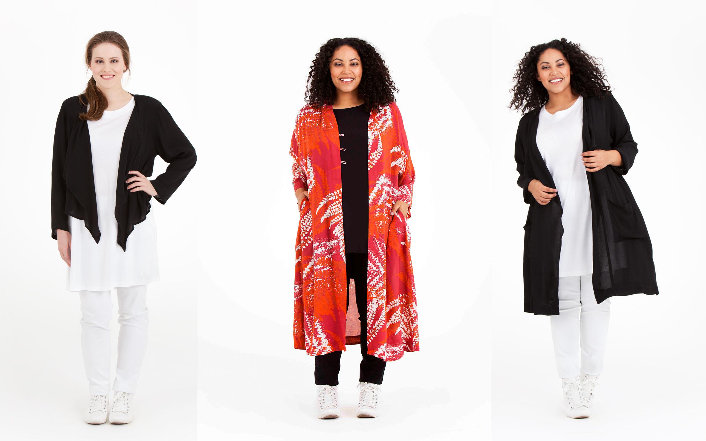 Molly, Oksana och Matilda är svala och sköna för varma dagar. Molly jacka, 100% viskos, pris 699:-, Oksana kimono, 100% modal, pris 799:- (finns även i Fern grön), Matilda jacka, 100% viskos pris 799:-
