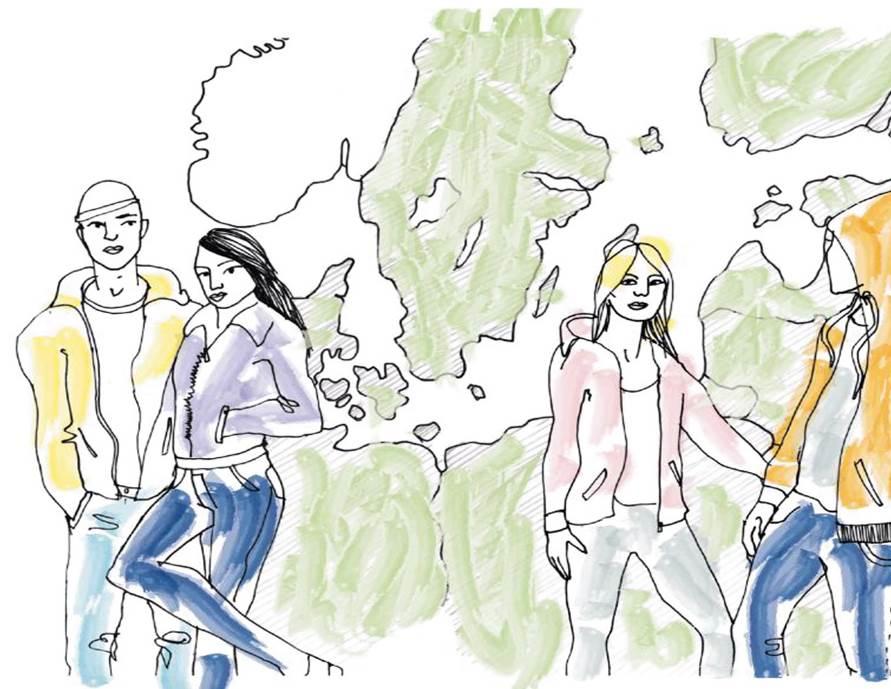 Illustration ungdomar framför Europa karta.
