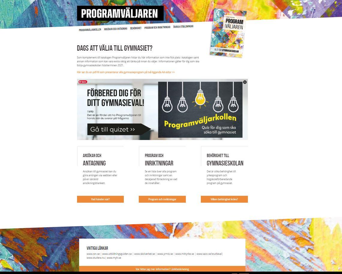 Skärmdump för sajten www.programvaljren.se