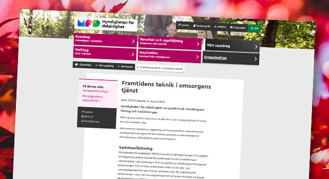 Bild på MFDs webbsida om yttrandet på utredningen om välfärdsteknik i äldreomsorgen