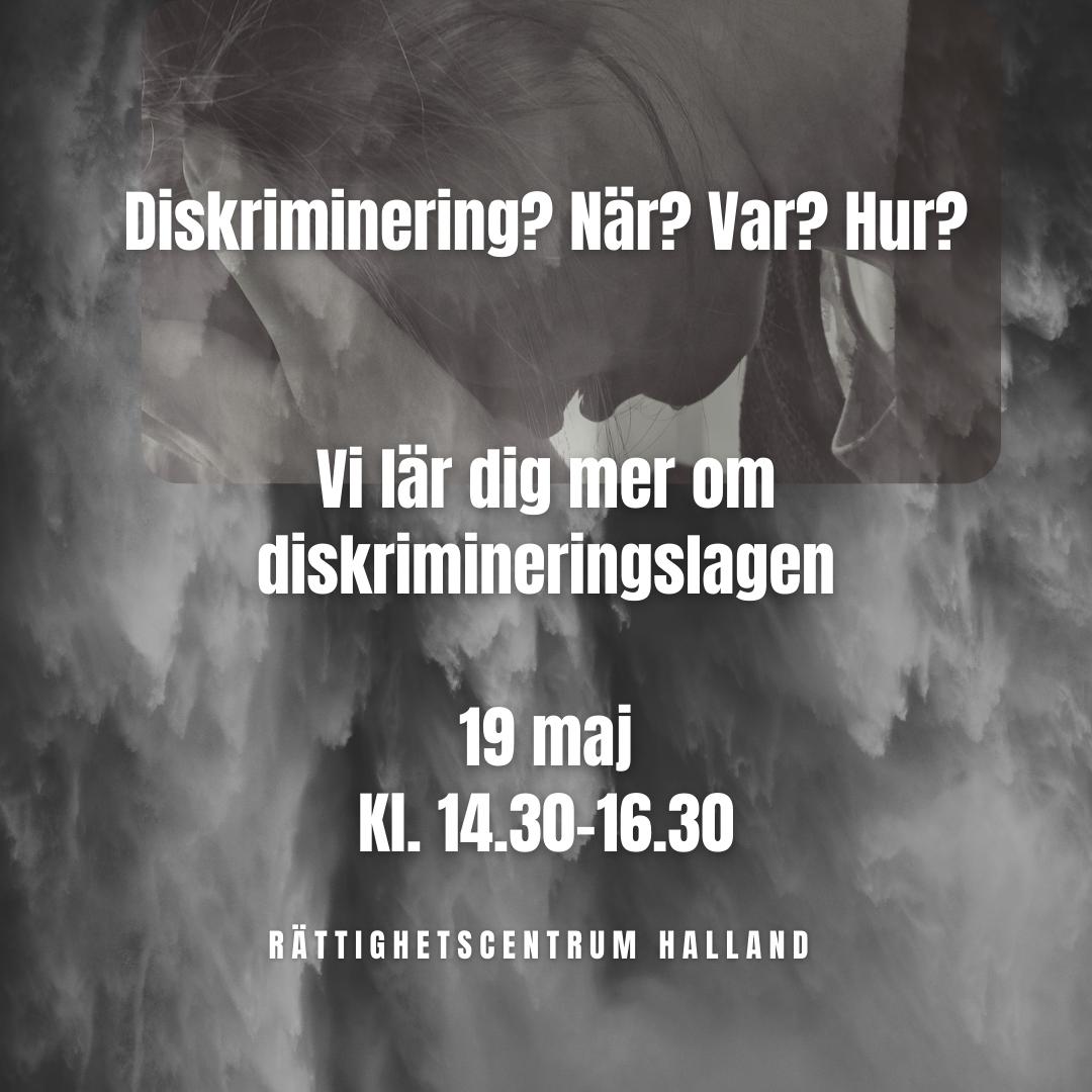 Varningsskyld med texten: Diskriminering pågår! Även under coronapandemin. Hör av dig till oss - vi kan diskriminering. Antidiskrimineringsbyråerna i Sverige