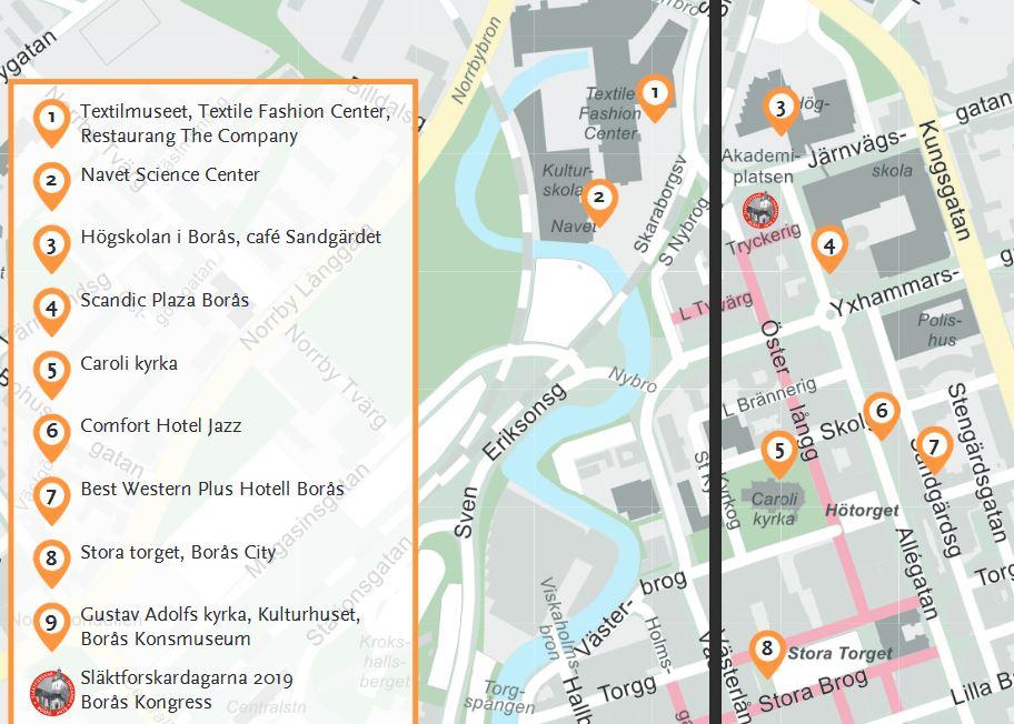 Karta Släktforskardagarna i Borås
