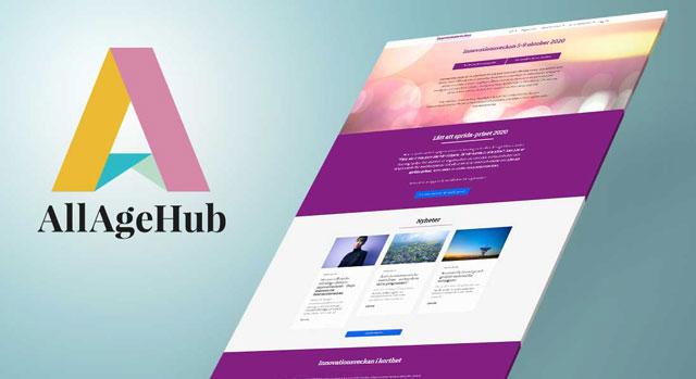 Illustration av Innovationsveckans hemsida samt AllAgeHubs logotyp