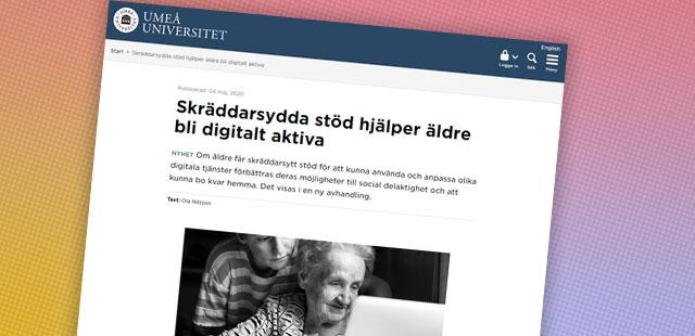 Skärmbild från webbsidan Digital Vård & Omsorg