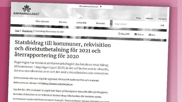 Skärmbild från Kammarkollegiets informationssida