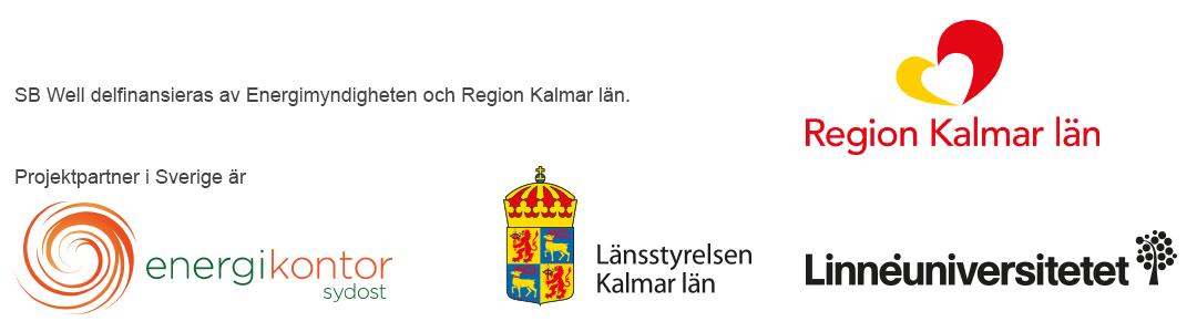 Loggor för Energimyndigheten, region Kalmar län, Energikontor Sydost, Länsstyrelsen Kalmar län och Linnéuniversitetet.