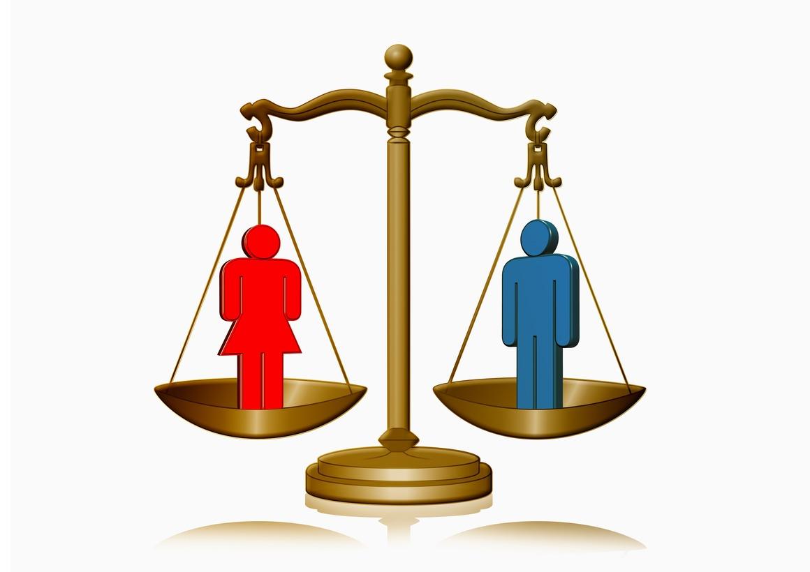 Kvinna och man står på våg i balans. Illustration.