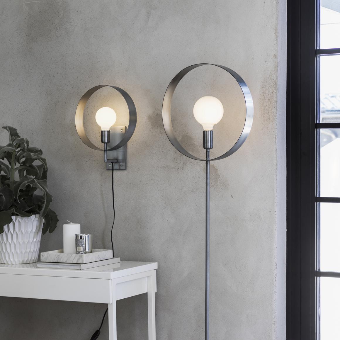 Pale silver Atmosphere vägglampa & golvlampa